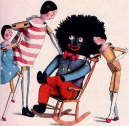 Florence Kate Upton's Golliwogg in formal minstrel attire in Golliwogg and Friends in 1895.
