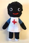 Nurse Golly Dolly - Hand-made Knitted Golliwog/Golliwogg Doll