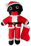 Santa Golly Dolly with Present Sack - Hand-made Knitted Golliwog/Golliwogg Doll